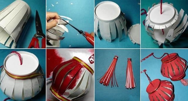 Với cách làm hết sức đơn giản, bạn đã có thể sáng tạo ra vô vàn chiếc đèn trung thu xinh xắn từ cốc giấy