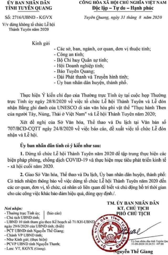 Công văn số 2716/UBND - KGVX
