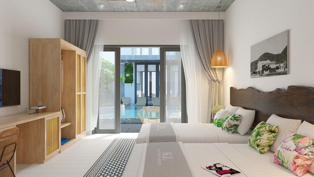 Phòng nghỉ được trang bị nội thất hiện đại, diện tích rộng rãi cùng khu vực ban công riêng giúp du khách ngắm nhìn khung cảnh thành phố ấn tượng