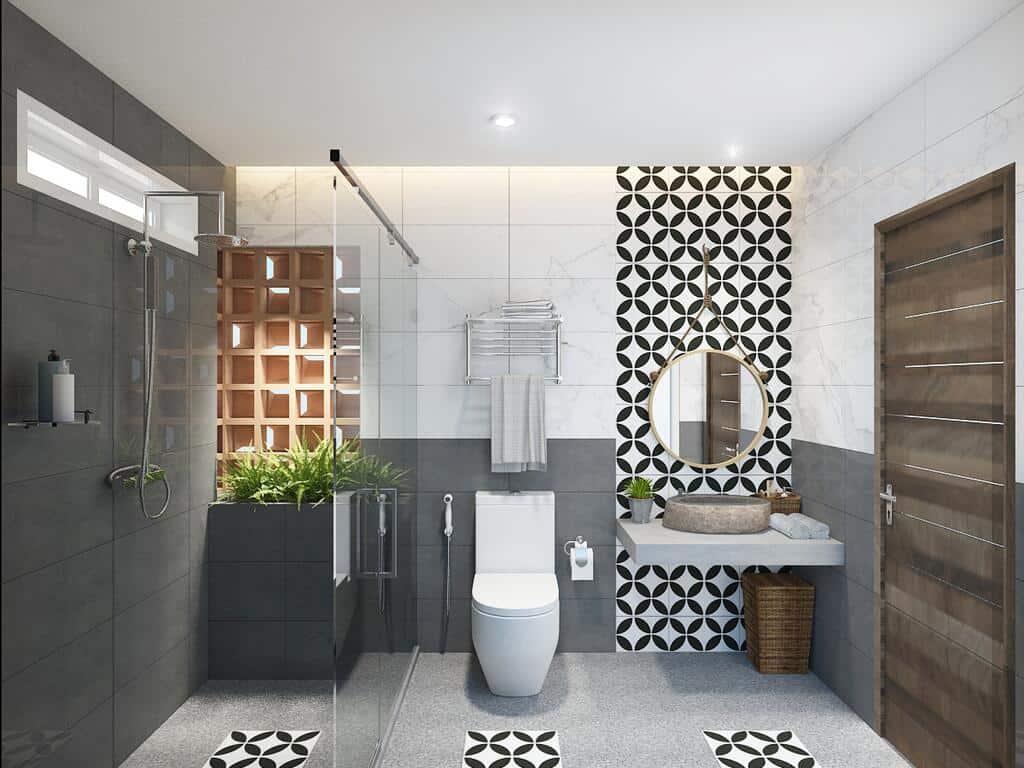 Phòng vệ sinh sử dụng đá họa tiết giúp trang trí ấn tượng kết hợp với các xu hướng nội thất hiện đại.