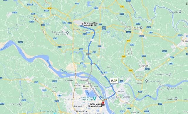 Chỉ đường từ sân bay nội bài tới khách sạn Sofitel Legend Metropole Hanoi