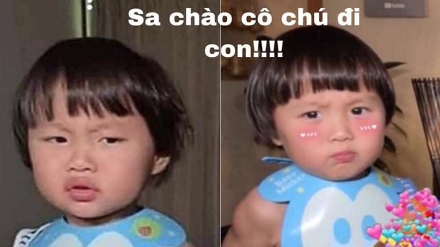 Meme bé Sa với biểu cảm siêu cưng - Nguồn ảnh: Internet