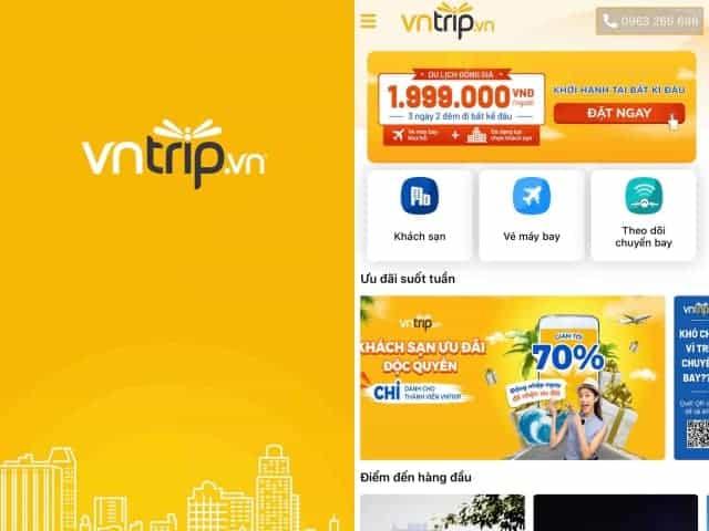 Giao diện của App Vntrip - Đặt phòng giá rẻ.