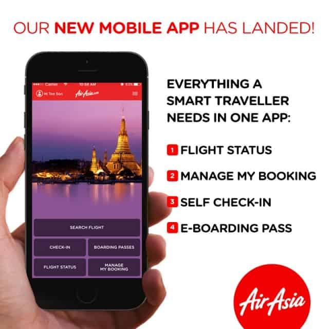 Giao diện của App AirAsia có màu đỏ đặc trưng. Ảnh: Internet