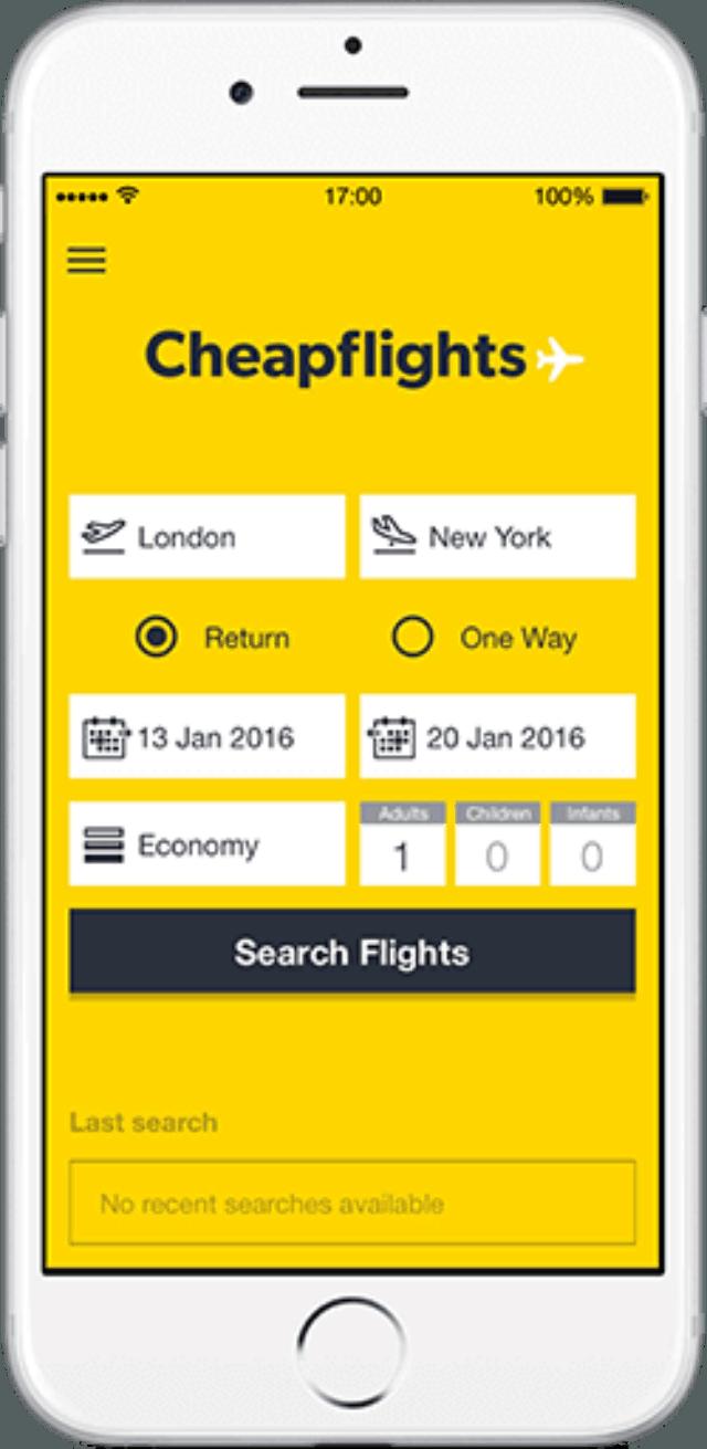 Cheap flights có giao diện màu vàng rực rỡ. Ảnh: Internet