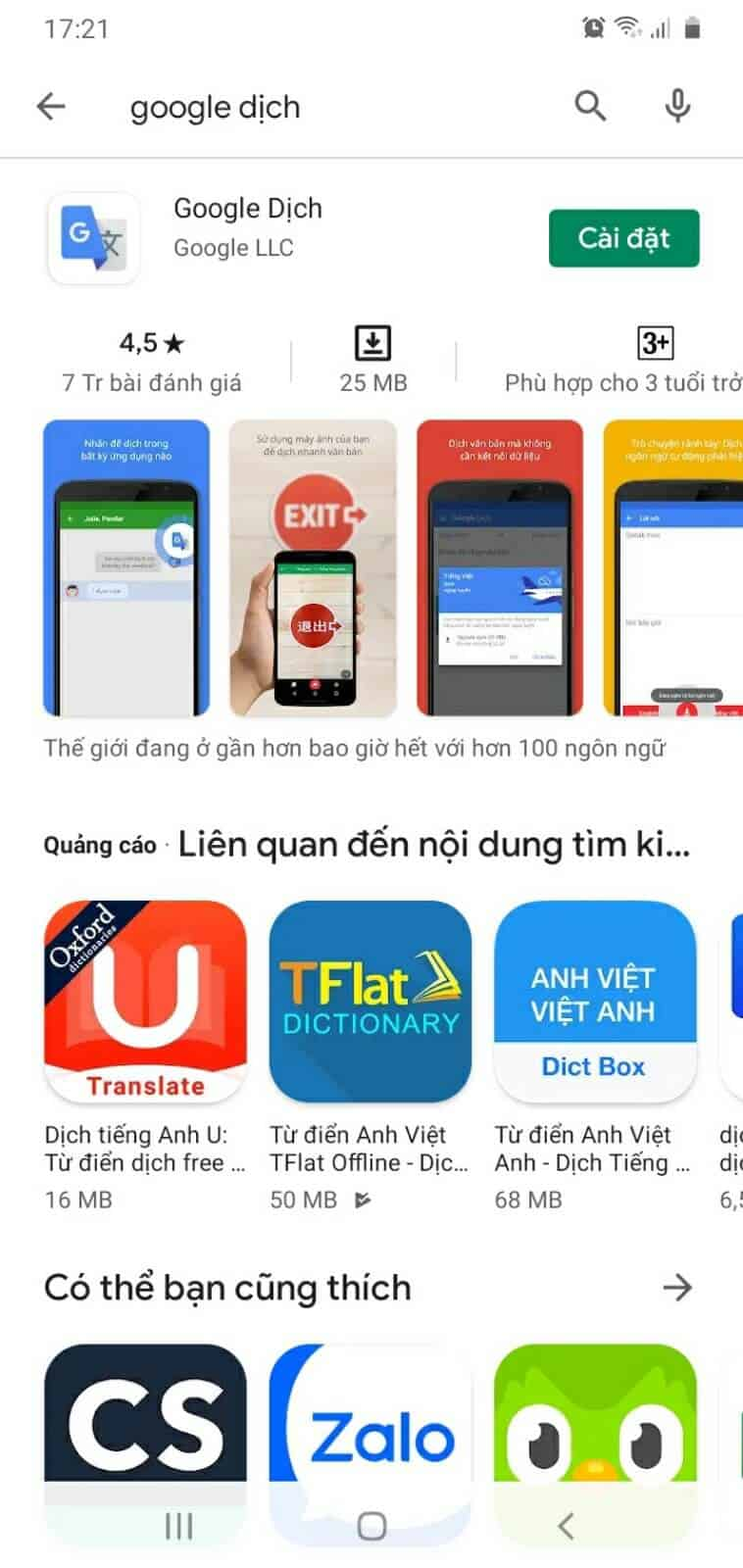 Tải ứng dụng Google dịch về điện thoại - Nguồn ảnh: Internet