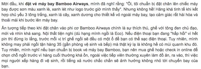 Những nhận xét khá thú vị về máy bay Bamboo Airways. Ảnh: Internet