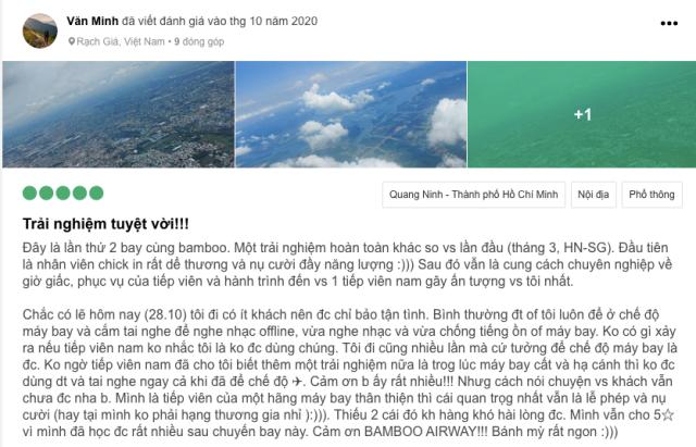 Đánh giá tích cực từ hành khách sử dụng Bamboo Airways. Ảnh: Internet