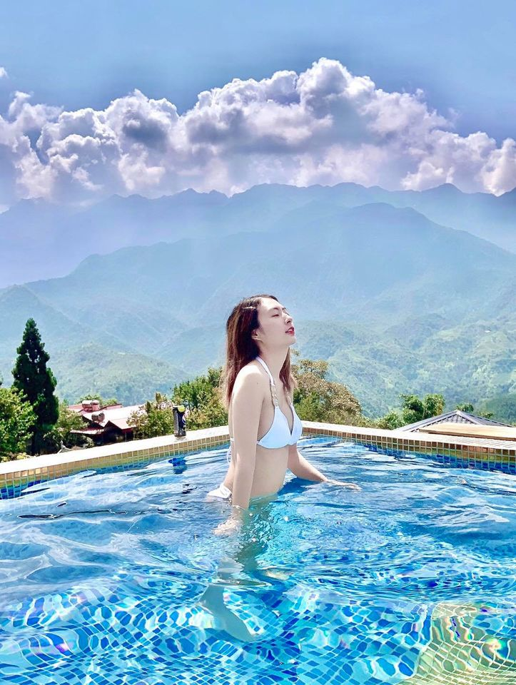 Bể bơi nằm trên tầng 4 của The Upper House Sapa. Hình: Sưu tầm