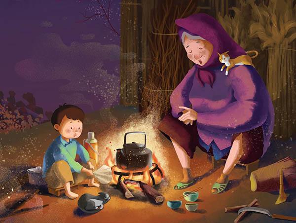 Mùa đông là những ngày ngồi bên bếp lửa nghe bà kể chuyện - Nguồn ảnh: Internet