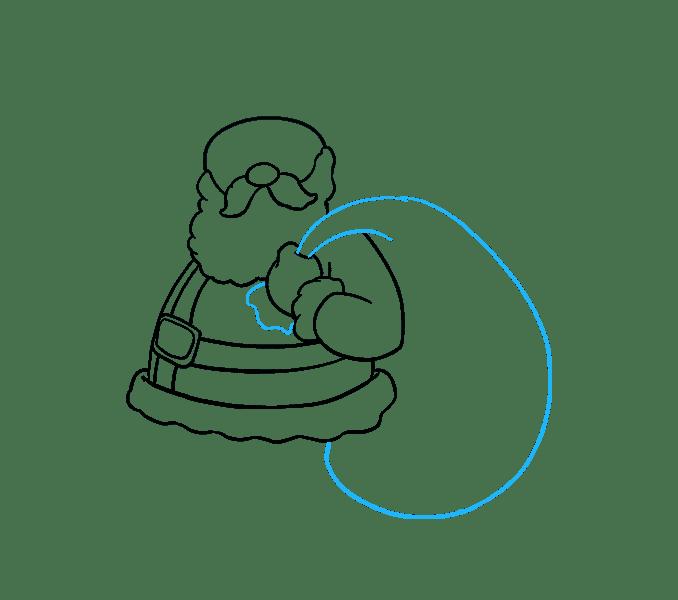 Để vẽ bao đựng quà của ông già Noel, bạn hãy vẽ một đường lượn sóng bên dưới bàn tay để chỉ phần đầu của bao đựng quà