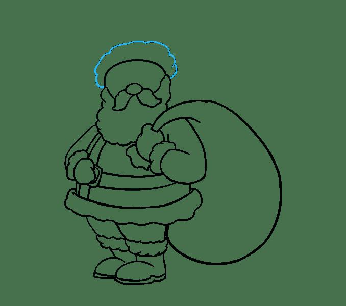 Vẽ đáy mũ của ông già Noel bằng cách sử dụng một đường sò.
