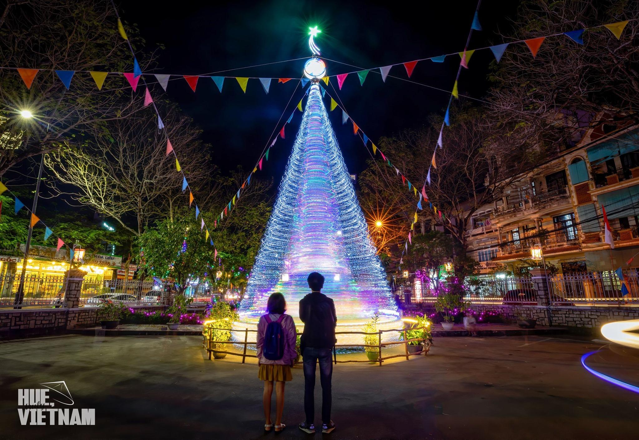Cây thông trong khuôn viên nhà thờ, phía sau tượng Chúa dang tay. Hình: Hue, truly Vietnam