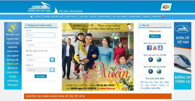 Website chính thức của Đường sắt Việt Nam. Ảnh: Internet