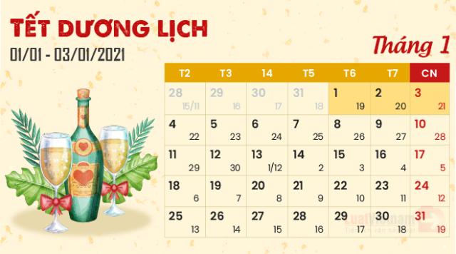 Mùng 1 Tết dương lịch nhằm ngày 19/11 Âm lịch. Ảnh: Internet