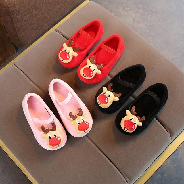 Giày búp bê in hình tuần lộc xinh xắn cho bé gái