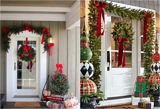 Trang trí Noel cho cửa gỗ văn phòng