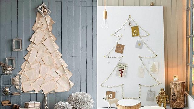 Hình cây thông Noel được làm từ giấy báo hoặc các tấm thiệp trang trí