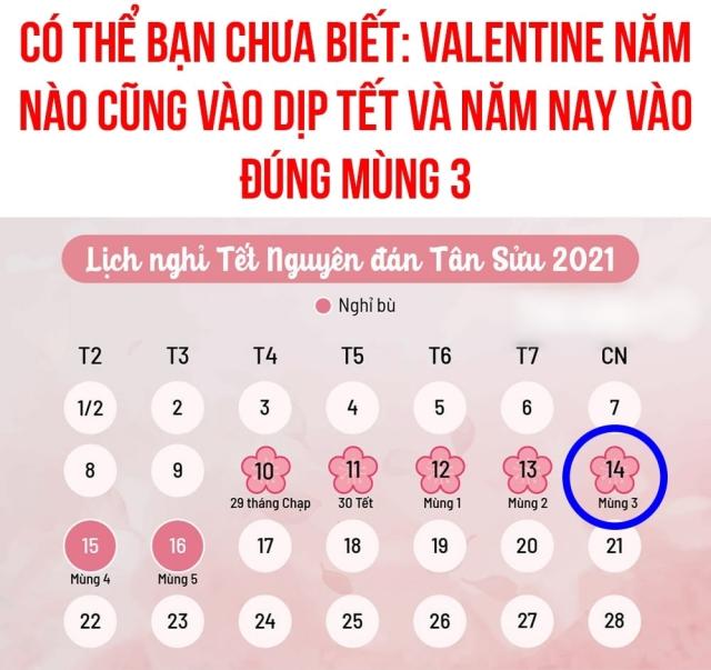 Valentine rơi vào mùng 3 Tết Nguyên đán. Ảnh: Internet