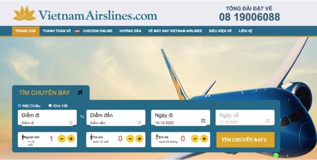 Website chính thức để đặt vé máy bay Tết từ Vietnam Airlines. Ảnh: Internet