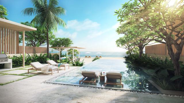Một góc phòng view hồ bơi vô cực và biển tại Melia Ho Tam resort. Ảnh: Internet