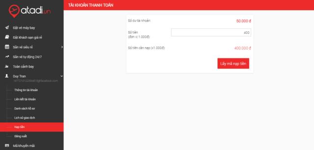 Thanh toán bằng tài khoản thành viên Atadi. Ảnh: atadi.vn