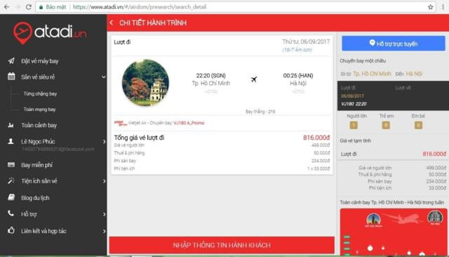Là trang web mua vé máy bay giá rẻ trong nước & Đông Nam Á. Ảnh: atadi.vn