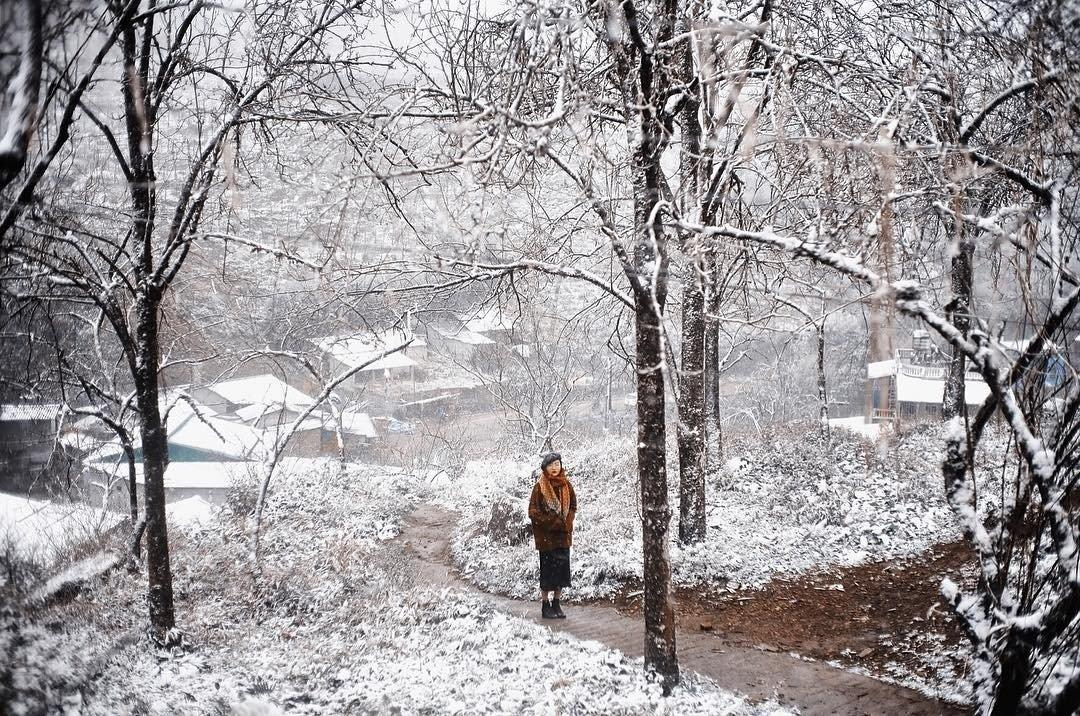 Mãn nhãn cảnh đẹp tuyết rơi ở Sapa 2021