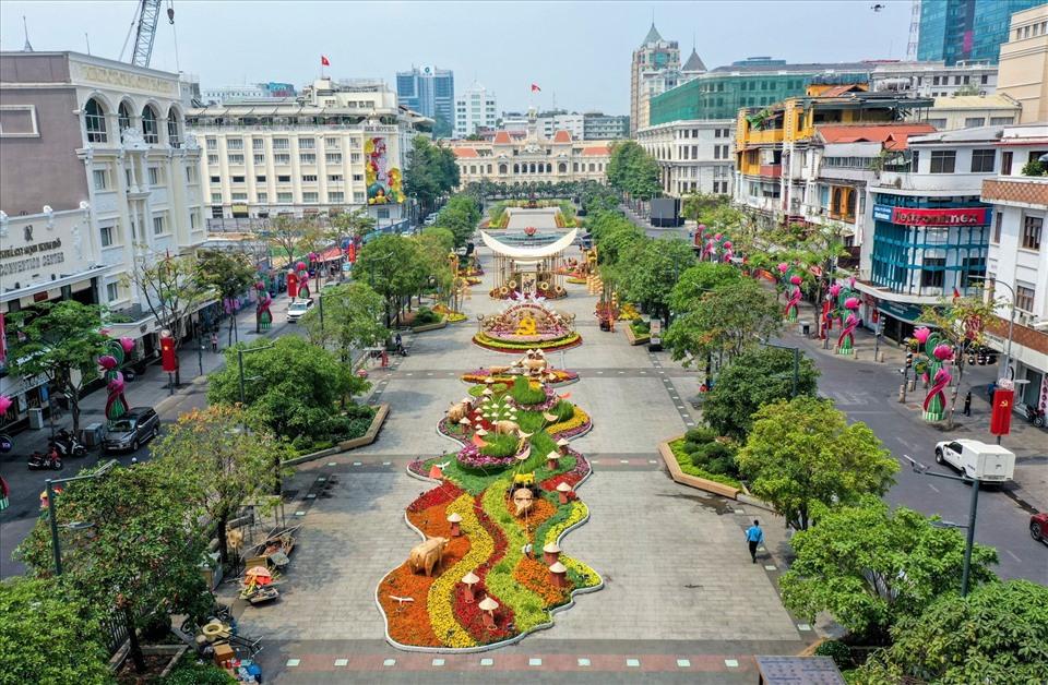 Toàn cảnh phố đi bộ Nguyễn Huệ vào dịp tết 2021 - Nguồn ảnh: Internet