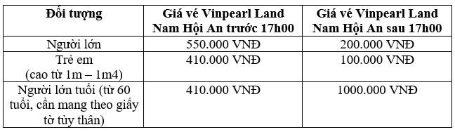 Bảng giá vé vào Vinpearl Land Nam Hội An