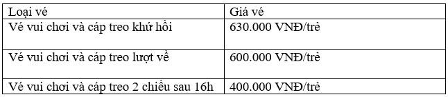 Giá vé cho trẻ em, áp dụng cho trẻ cao từ 1m – 1,39m
