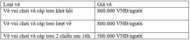 Giá vé cho người lớn, áp dụng cho người cao từ 1,4m