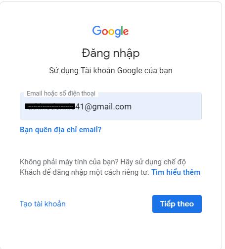 Bước 1 đăng nhập vào gmail của bạn - Nguồn ảnh: Internet