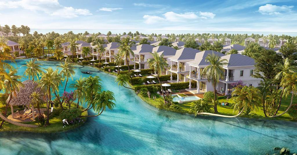 Các căn biệt thự nằm liền kề nhau như nằm trên một ốc đảo xanh mướt