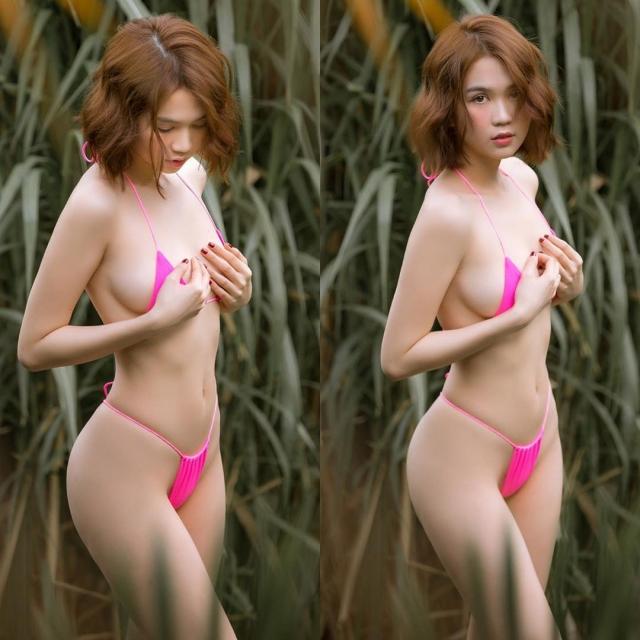 """Lạc vào khu rừng, Ngọc Trinh diện kiểu bikini siêu nhỏ, trong suốt vì dây đai quá mỏng làm fans """"rần rần"""". Ảnh: Internet"""