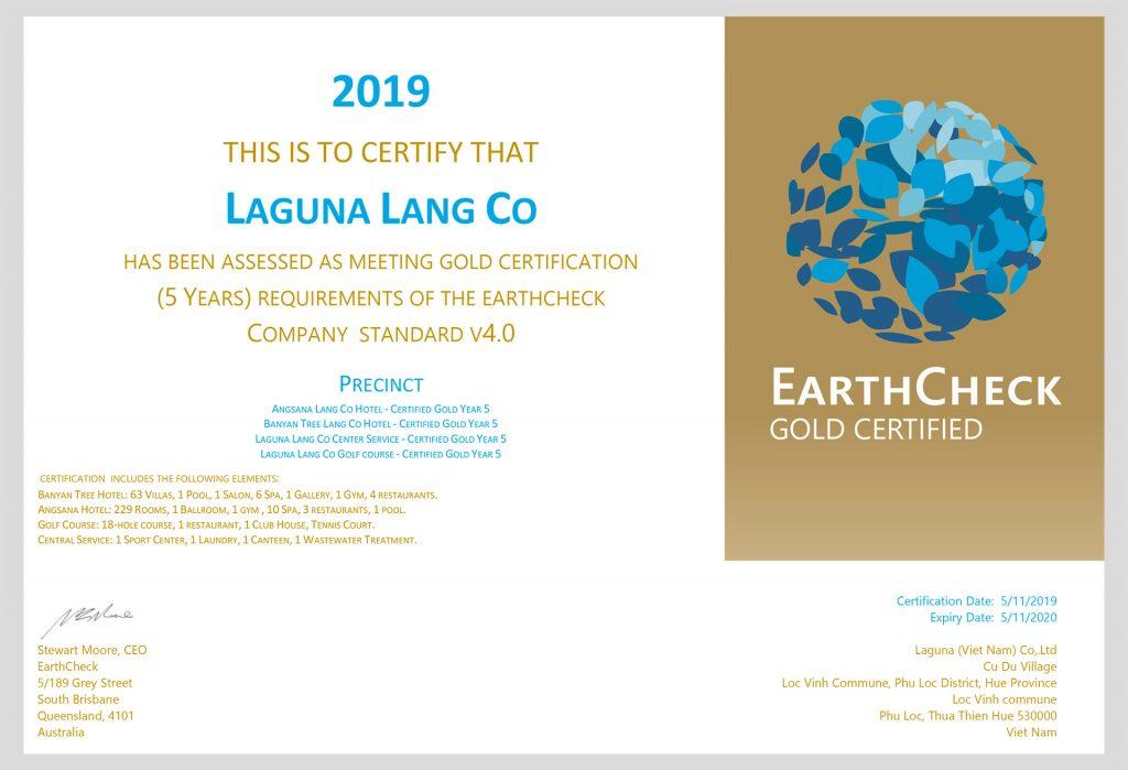 Laguna nhận được Chứng nhận của EarthCheck. Hình: Sưu tầm
