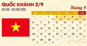 Quốc khánh 2/9/2021: Người lao động được nghỉ 4 ngày liên tục